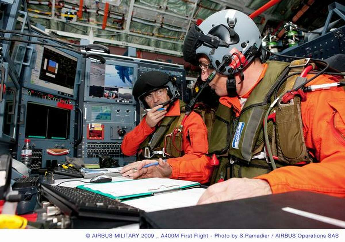 Flight crew prepare for first flight of Airbus' A400M on Dec. 11, 2009 in Seville, Spain. (Airbus photo)