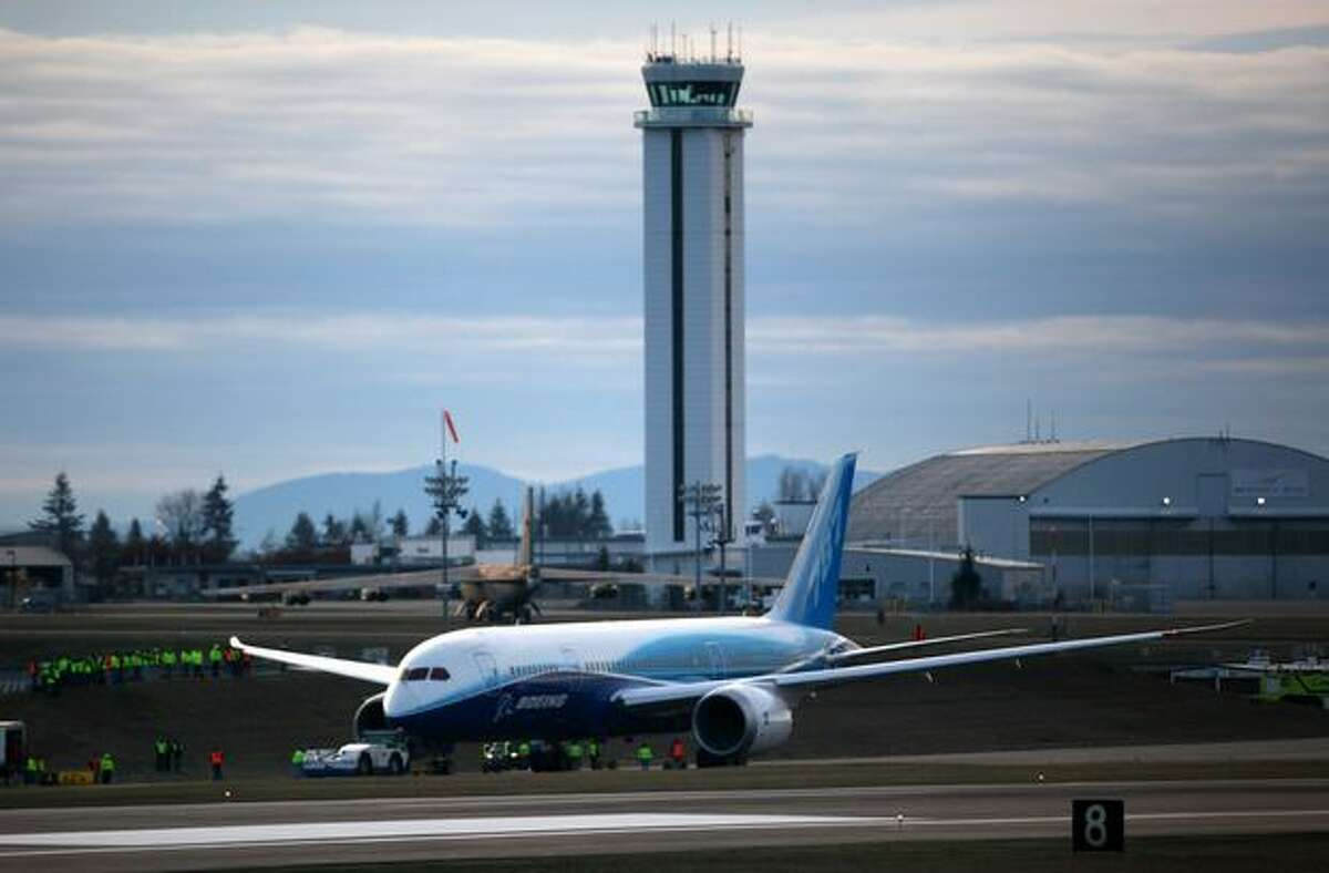 Boeing's 787 Dreamliner stops on the taxiway during taxi tests on Saturday at Paine Field in Everett.