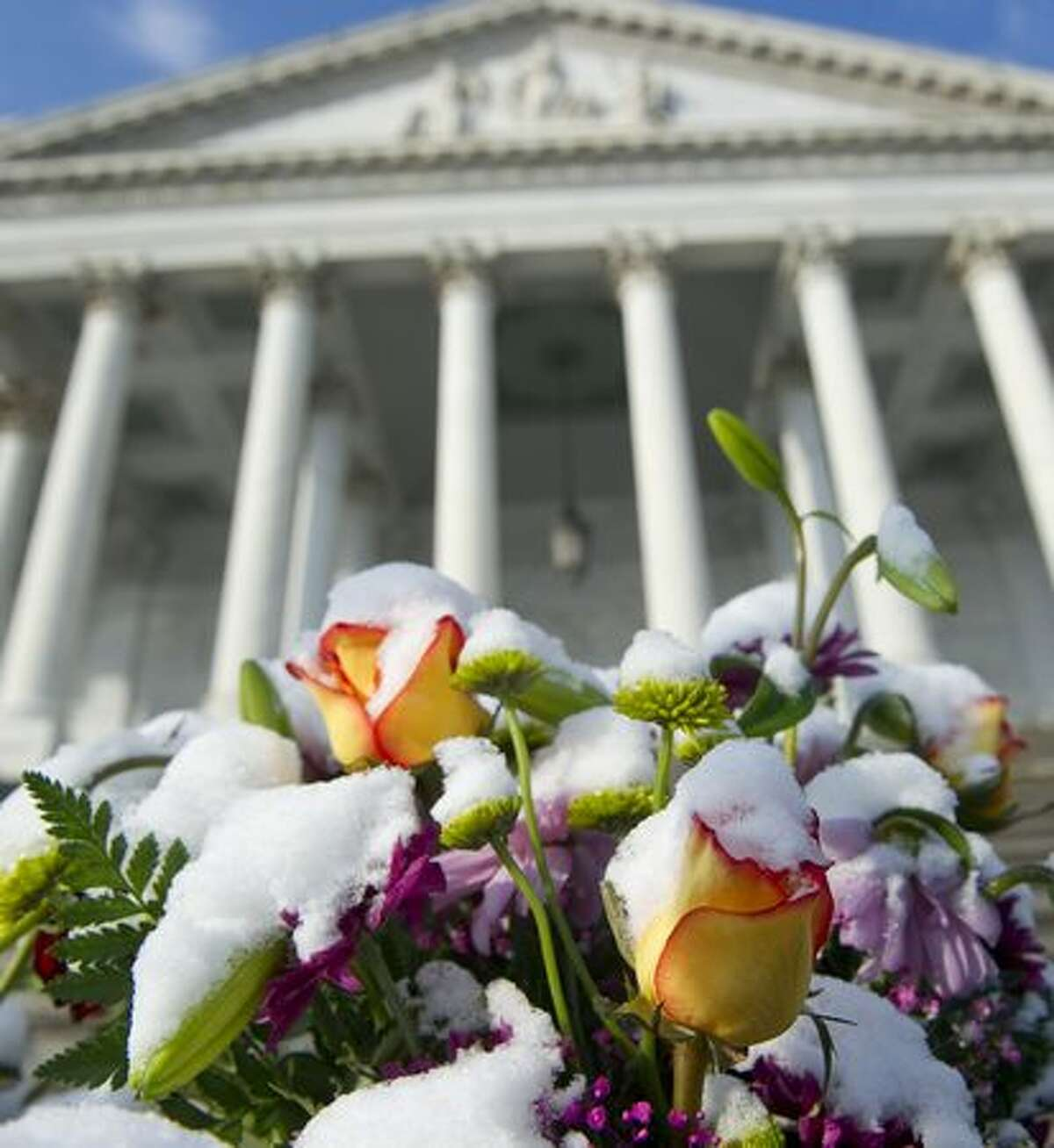 A layer of snow covers flowers left as part of a makeshift memorial on the East Front of the US Capitol in Washington, DC, Wednesday, in honor of the six people killed in the shooting in Tucson, Arizona, that also severely wounded Arizona Representative Gabrielle Giffords. US President Barack Obama is scheduled to travel to Tucson later today to attend a memorial service.