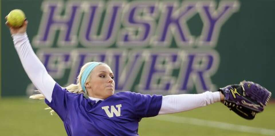 Pitcher Daniellie Lawrie of the University of Washington softball team practices at Husky Softball S