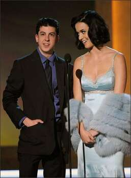 Actor Christopher Mintz-Plasse (left) and singer Katy Perry. Photo: Getty Images