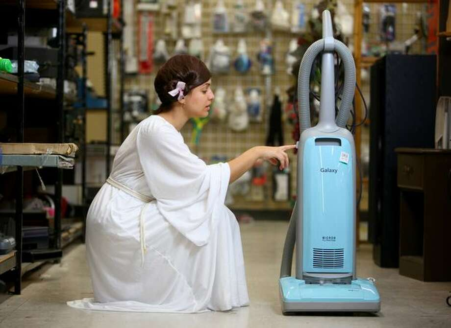 Monica Guzman of seattlepi.com models a Princess Leia costume at Value Village in Seattle on Oct. 13, 2009 while researching cheap, but good, Halloween costumes. Photo: Joshua Trujillo, Seattlepi.com
