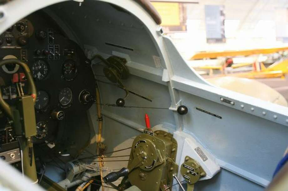 The cockpit of a Polikarpov I-16 Type 24 Rata, showing the crank that retracts the landing gear, with 45 turns. Photo: Aubrey Cohen, Seattlepi.com