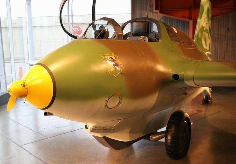 The German Messerschmitt 163B Komet had a rocket with enough fuel for about eight minutes of flight. It would take off, engage the enemy and then glide back to the ground, using its small propeller to run a generator that powered its instruments. The wheels detached on takeoff, so it landed on skids at the bottom of the fuselage. Photo: Aubrey Cohen, Seattlepi.com