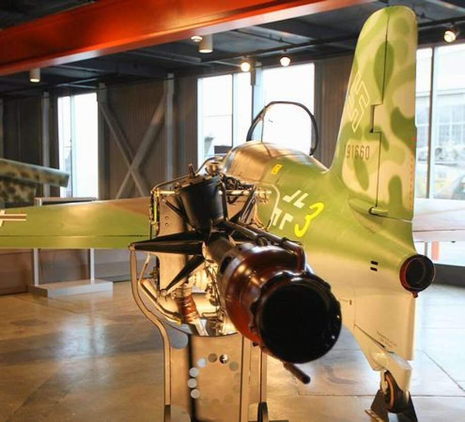 The Flying Heritage Collection's Me 163B Komet was towed as a glider to Husum Luftwaffe base in Northern Germany, on Dec. 18, 1944, and may or may not have seen combat before British soldiers captured it on May 8, 1945. It is one of only a dozen Me 163 Komets still in existence and              does not fly. Photo: Aubrey Cohen, Seattlepi.com