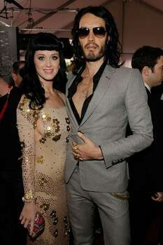 Singer Katy Perry (left) and comedian Russell Brand arrive. Photo: Getty Images