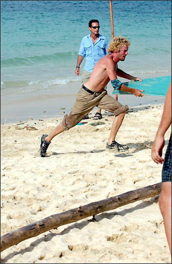 "Jon Dalton of the Drake tribe during the reward challenge ""Float It Notes."" Photo: Monty Brinton, CBS"