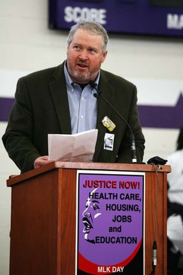Mayor Mike McGinn speaks to a crowd at Garfield High School on Monday. Photo: David Ryder, Seattlepi.com
