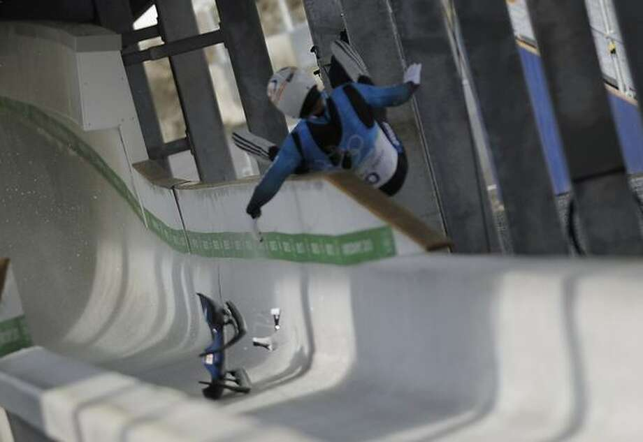 Georgian luge hopeful Nodar Muaritashvili was thrown from his sled at high-speed before smashing into a metal pillar near the bottom of the track at the Whistler Sliding Centre, on the final 270-degree turn. Photo: Getty Images