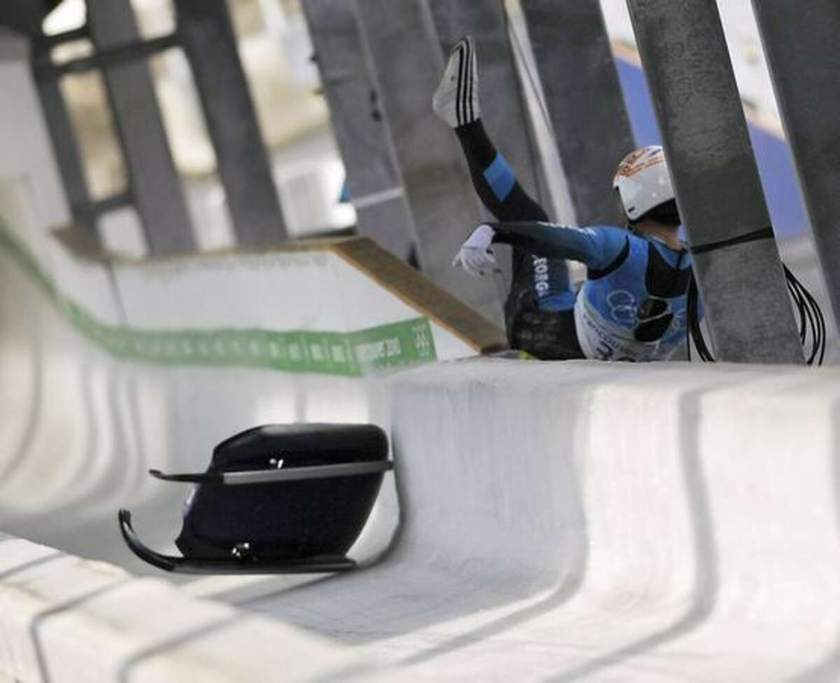 Georgian luge hopeful Nodar Kumaritashvili crashes during a practice at the Whistler Sliding Centre, in preparation for the Vancouver Winter Olympics. Kumaritashvili flew off the Olympic track during his second of two training runs, reports said. He was killed in the accident.
