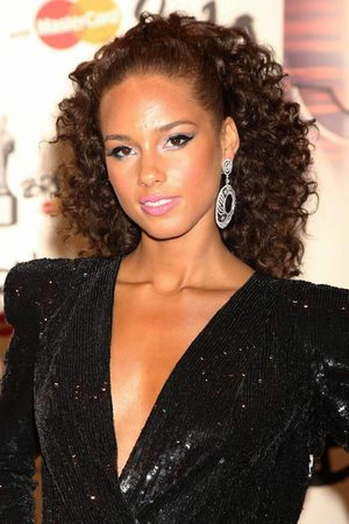 Alicia Keys arrives at The Brit Awards 2010 held at Earls Court on February 16, 2010 in London, England.