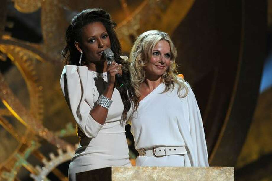 Mel B and Geri Halliwell accept the Spice Girls award for 'Brits Performance of 30 Years' on stage at The Brit Awards 2010 at Earls Court on Feb. 16, 2010 in London. Photo: Getty Images