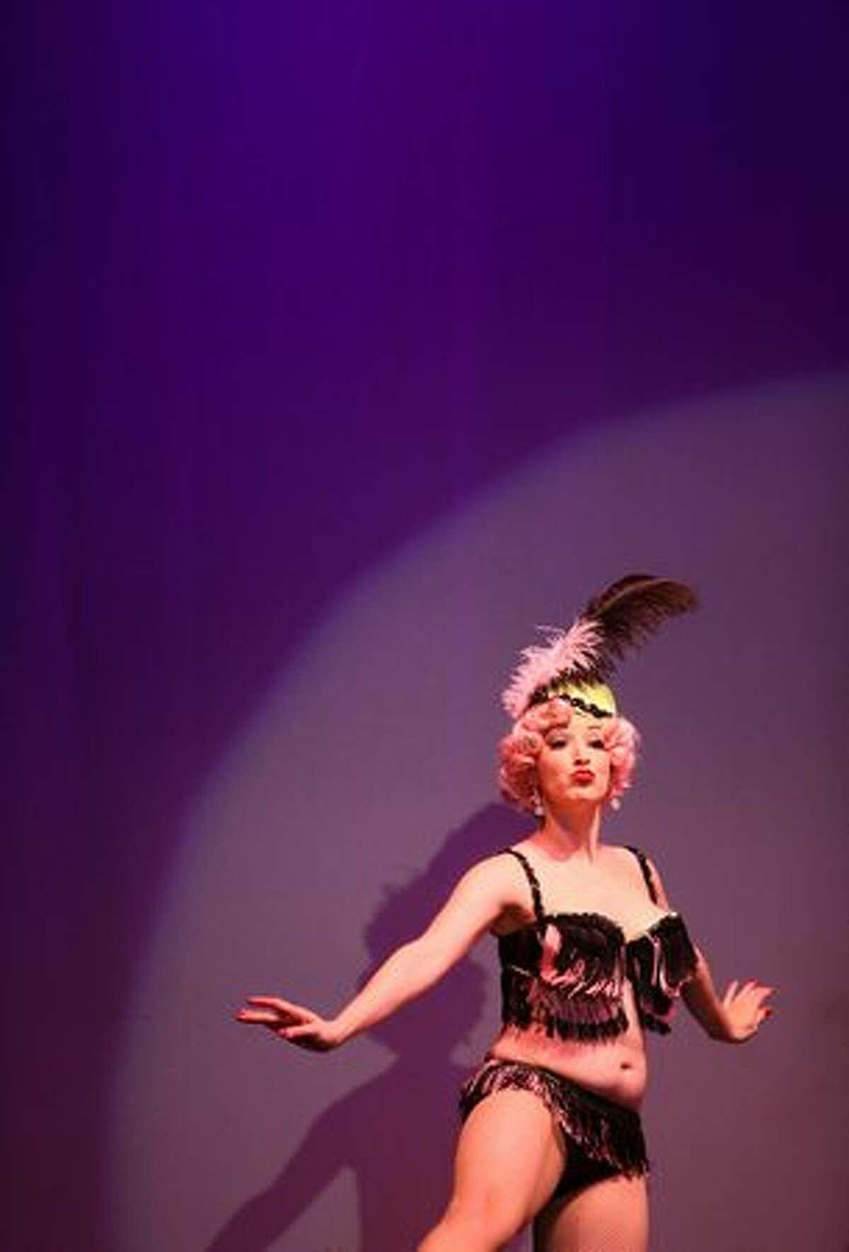 Miss Lily Verlaine performs during the Valentine's Day show with the Atomic Bombshells.
