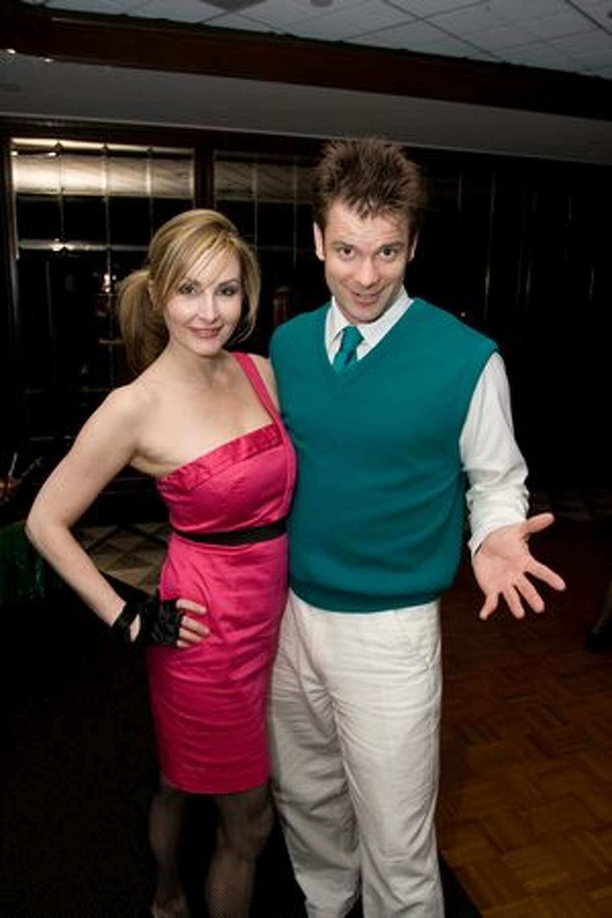 Dawn Hunter and Eric Valpy at the '80s Prom Night party at the Columbia Tower Club. (Humberto Martinez / seattlepi.com)