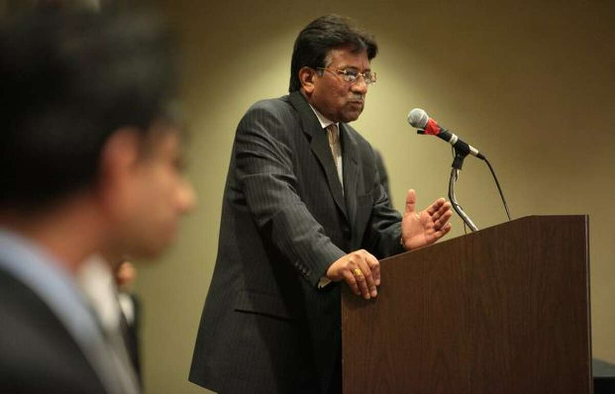 Former President of Pakistan Pervez Musharraf speaks.