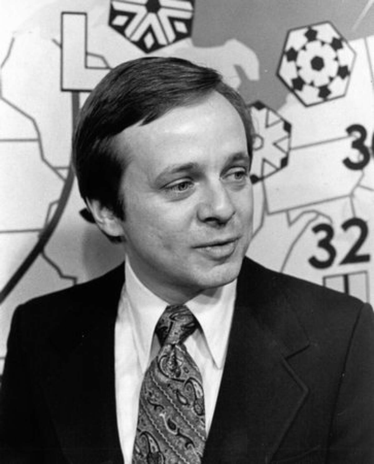 Former KIRO meteorologist Harry Wappler in Feb. 1975. Wappler died April 21 at age 73. (Tom Brownell/seattlepi.com file)