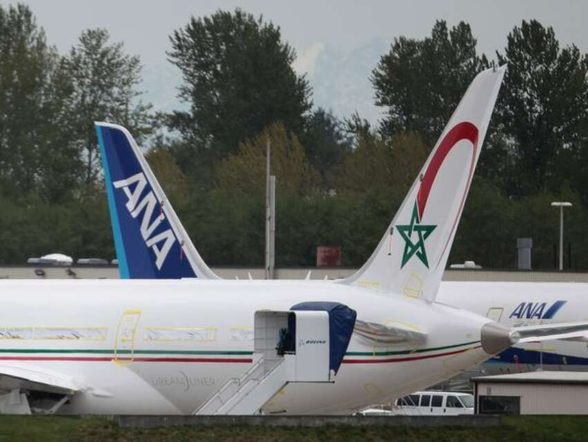 The first Boeing 787 Dreamliner for Royal Air Maroc is out on Boeing's Paine Field flight line, in Everett.