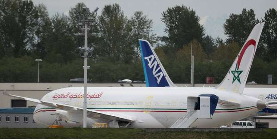 The first Boeing 787 Dreamliner for Royal Air Maroc is out on Boeing's Paine Field flight line, in Everett. Photo: Joshua Trujillo, Seattlepi.com