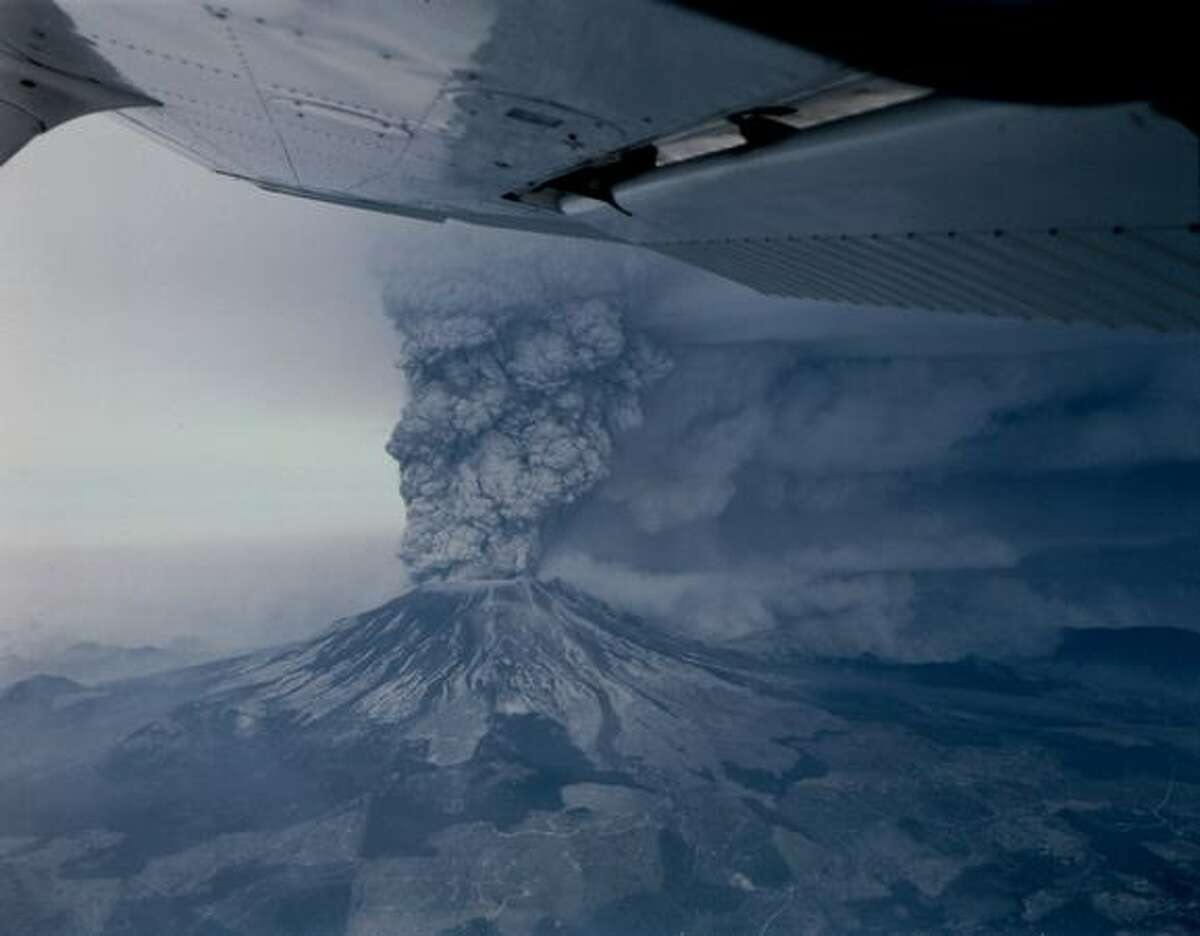 Mount St. Helens erupts on May 18, 1980. (Photo by Grant M. Haller)