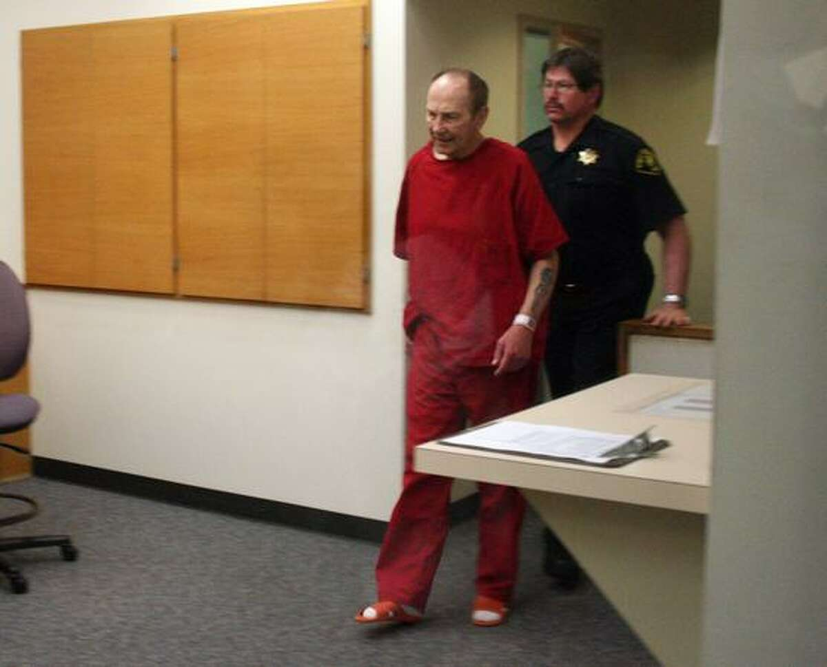 """James Fogle, author of """"Drugstore Cowboy,"""" at his May 27 arraignment for a Redmond pharmacy robbery. Fogle and an alleged accomplice, Shannon Benn, were ordered held on $500,000 bail."""