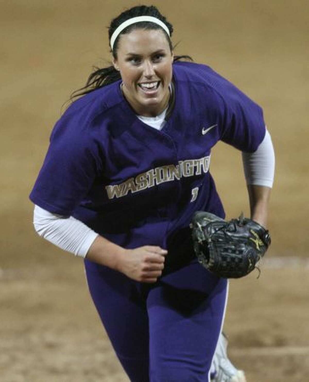 University of Washington pitcher Danielle Lawrie celebrates after striking out a University of Oklahoma player in the third of a series of games in the NCAA Super Regionals on Friday May 28, 2010 at Husky Stadium.