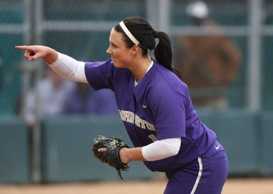 University of Washington player Danielle Lawrie wraps up an inning by striking out a University of Oklahoma player during the NCAA Super Regionals on Friday, May 28, 2010, at Husky Stadium. The Huskies defeated the Sooners 3-0. Photo: Joshua Trujillo, Seattlepi.com