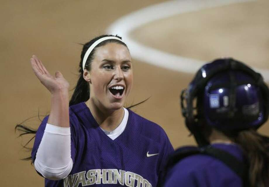 University of Washington pitcher Danielle Lawrie celebrates with catcher Shawna Wright after striking out a University of Oklahoma player during the third in a series of games in the NCAA Super Regionals on Friday May 28, 2010 at Husky Stadium. Photo: Joshua Trujillo, Seattlepi.com