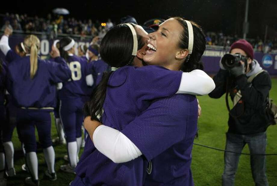University of Washington pitcher Danielle Lawrie embraces teammate Jenn Salling after the UW defeated the University of Oklahoma in the third game of the NCAA Super Regionals on Friday, May 28, 2010, at Husky Stadium. Photo: Joshua Trujillo, Seattlepi.com