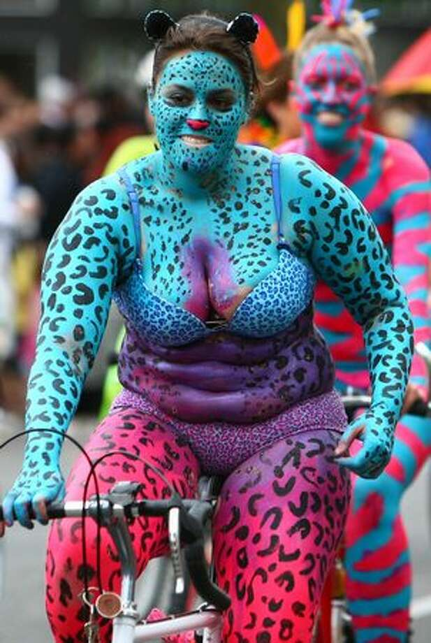 A painted cyclist participates in the popular ride during the Fremont Solstice Parade on Saturday June 19, 2010 in Seattle. Photo: Joshua Trujillo, Seattlepi.com