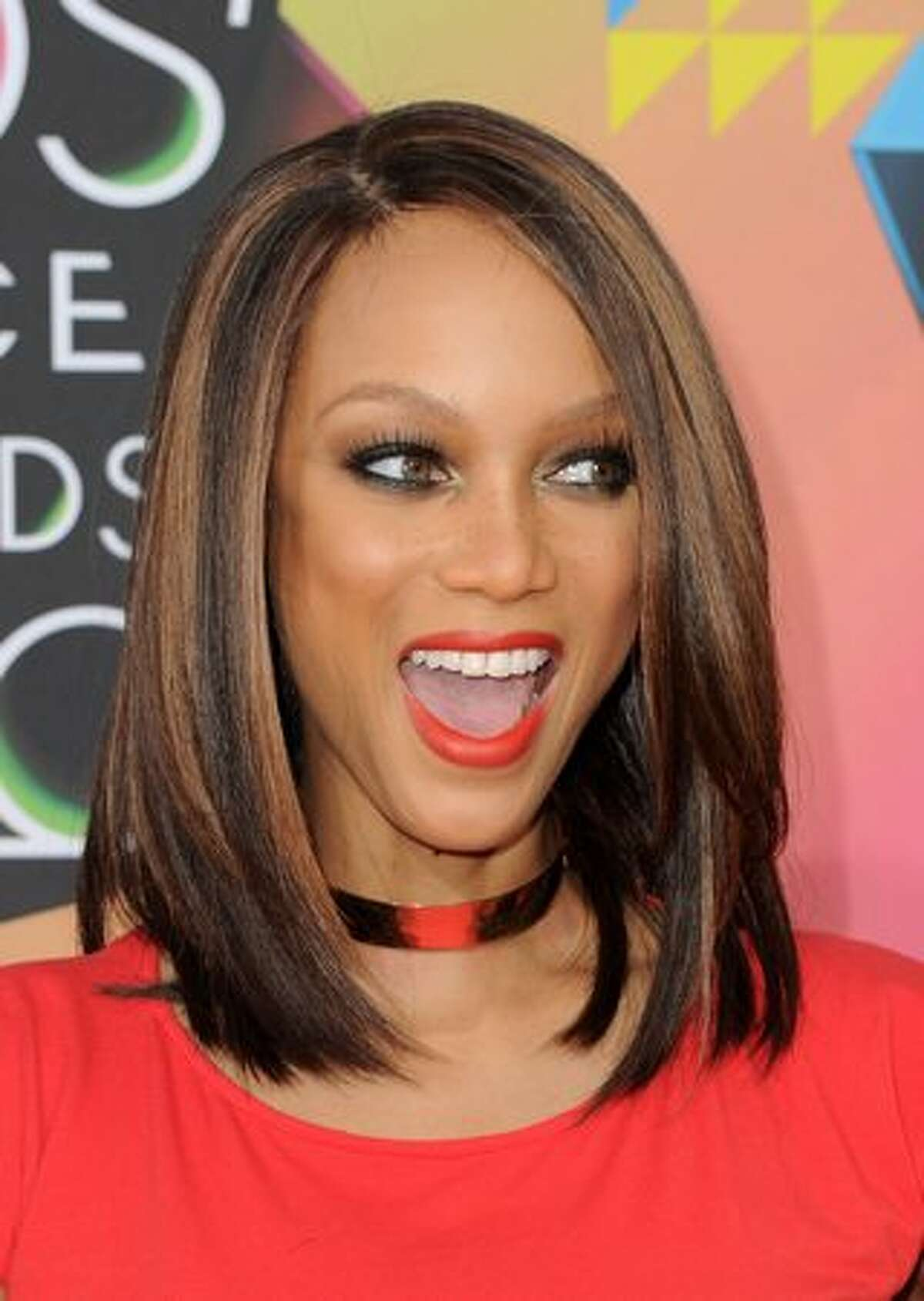 Model Tyra Banks arrives at Nickelodeon's 23rd Annual Kids' Choice Awards.