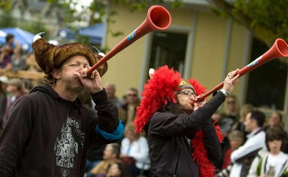 Vuvuzela viking John Mott blows on his horn for the Fremont Solstice Parade on Saturday June 19, 2010. Photo: Sang Cho, Seattlepi.com