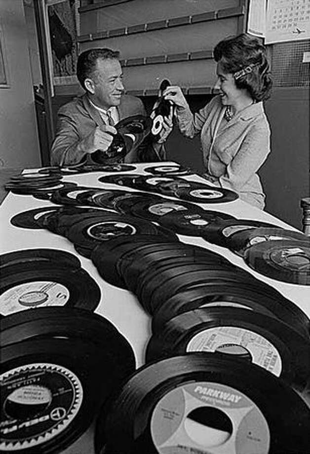 KJP DJ Pat O'Day with Jackie Kidd, 1964 (Cary Tolman/Seattlepi.com file/MOHAI collection) Photo: P-I File
