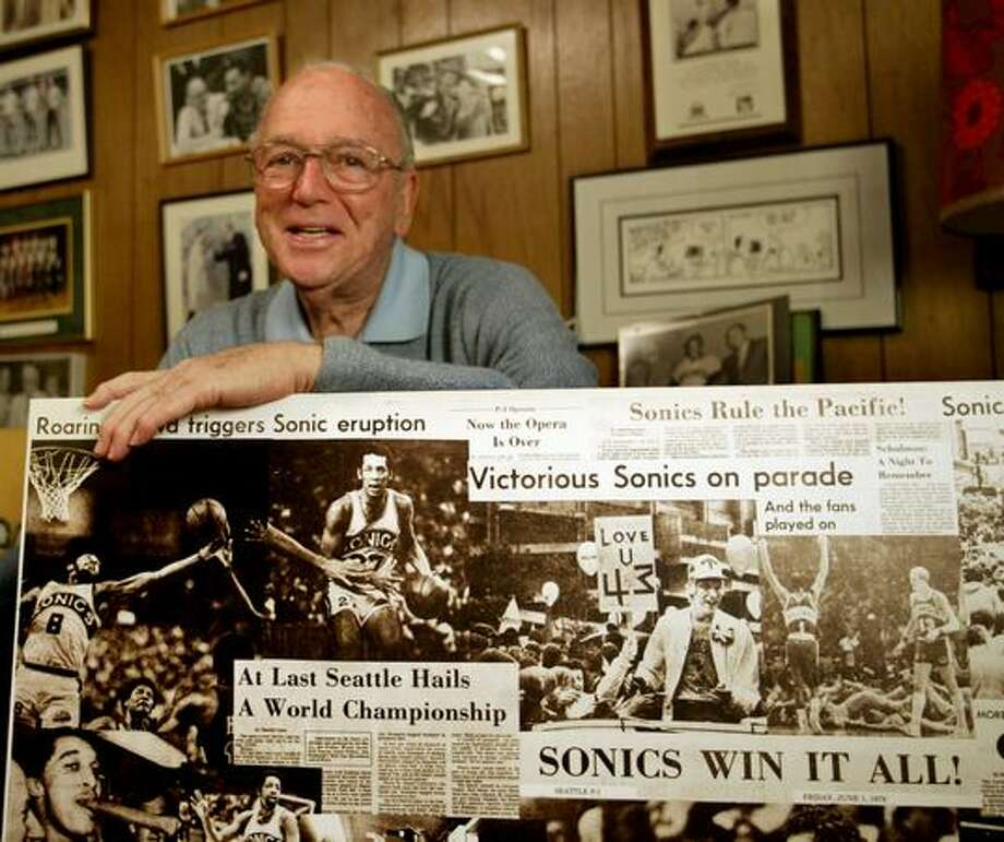 Bob Blackburn, shown here in February 2006, was the first Seattle Supersonics radio play-by-play man. He died in January at age 85.. (Scott Eklund/seattlepi.com file) Photo: P-I File
