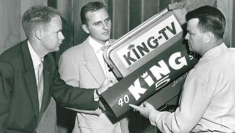 King Broadcasting Company, which held KING 1090 AM, bought KRSC TV and the station changed to the KING call letters in 1949.  This photo was taken in December, 1955. Photo: P-I File