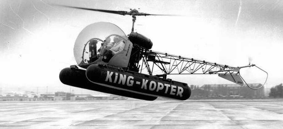 KING radio's helicopter gave traffic reports to motorists in the 1960s. This photo is from May 1960. Photo: P-I File