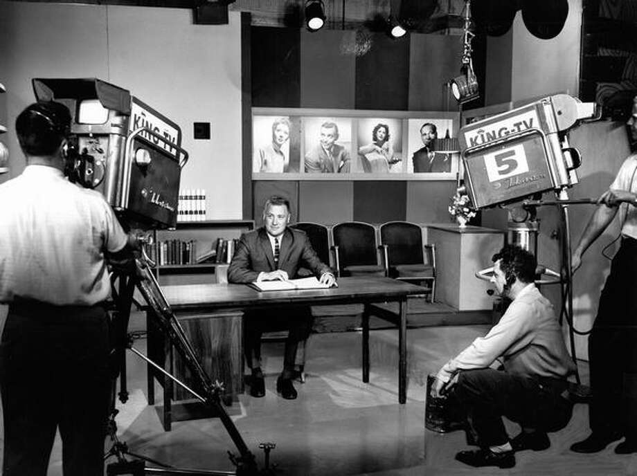 "Cameramen Earl Thoms, left, and Bud Johnson, right, prepare to televise ""Soundstage"" in January 1964. Photo: P-I File"