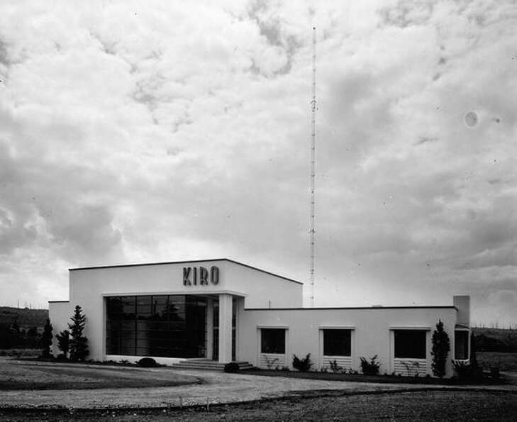 A 1941 photo of KIRO's 50,000-watt transmitting station on Vashon Island. Click