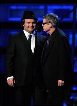 Jack Black (left) and Charlie Haden address the audience. Photo: Getty Images