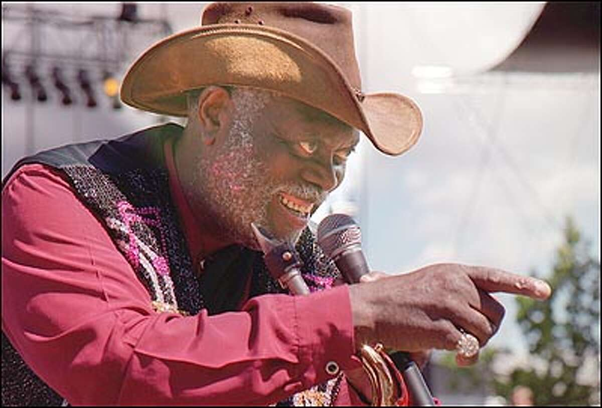 Big Jay McNeeley teases the crowd Saturday afternoon with his bands, The Palace of Culture and The Duffy Bishop Band.
