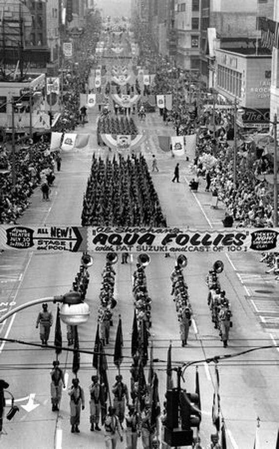 Ft. Lewis troops on Fourth Avenue during the 1964 Seafair parade. Photo: P-I File