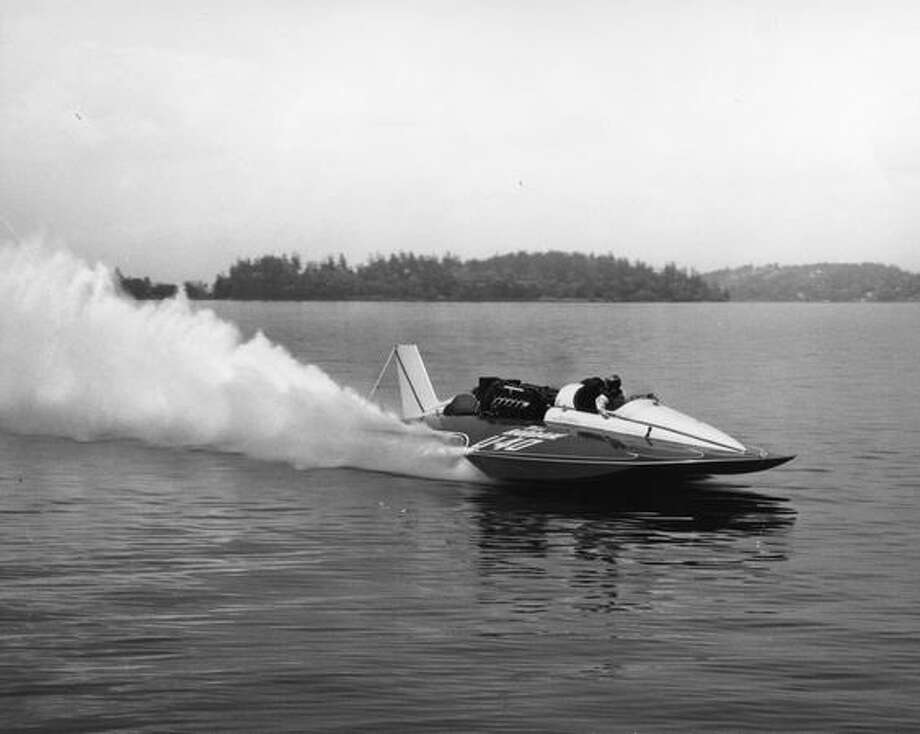 Miss Bardahl U-40 hydoplane in action, 1966 -- photo courtesy of the Hydroplane and Raceboat Museum Photo: P-I File