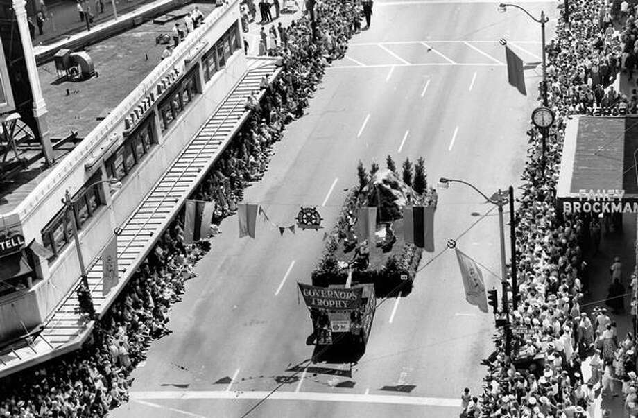The Grande Parade on Fourth Avenue during the second day of Seafair, 1956. Photo: P-I File