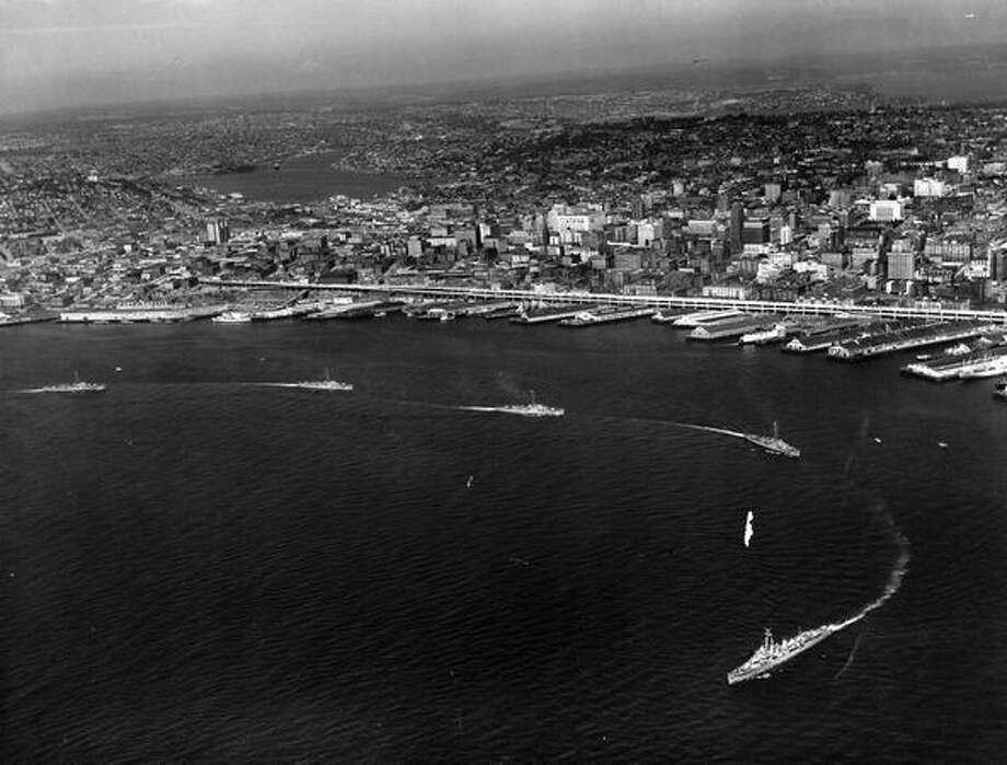 A Navy parade in Elliott Bay, Seafair 1953. Photo: P-I File