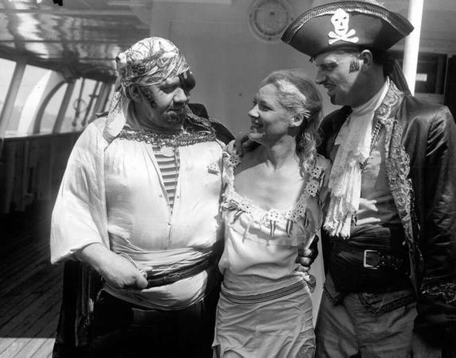 Adam Lyskoski (Davy Jones), Betty Skelly and Bob McCurdy (Captain Kidd), Seafair 1951. Photo: P-I File