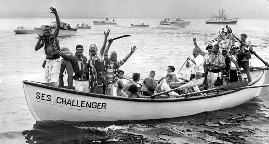 Seafair pirates before their 1961 Alki Beach landing. Photo: P-I File