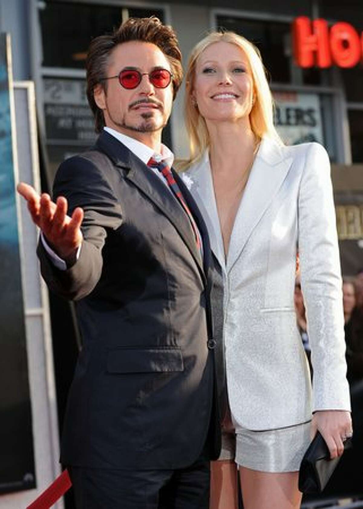 Actor Robert Downey Jr. and actress Gwyneth Paltrow arrive at the world premiere of Paramount Pictures and Marvel Entertainment's