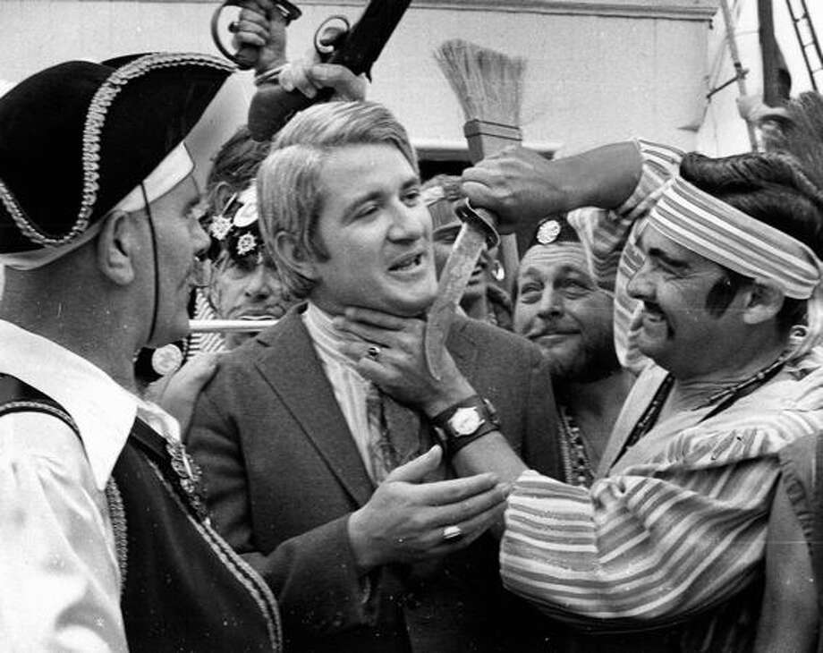 Former Seattle Mayor Wes Uhlman, shown here in July 1971, was eventually freed on command of the Seafair Pirate Captain, Robert Smyth. Photo: P-I File