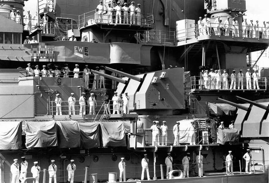 Sailors aboard the USS New Jersey at Pier 66, Seafair 1989. Photo: P-I File