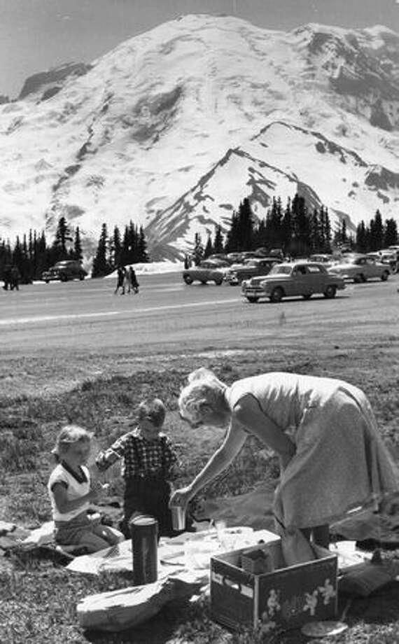 Visitors at Mount Rainier, August 1968. Photo: P-I File