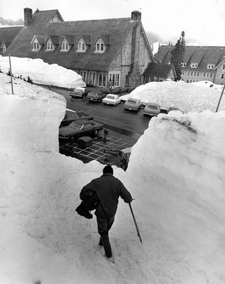 Paradise Inn, still deep in snow, July 1971. Photo: P-I File